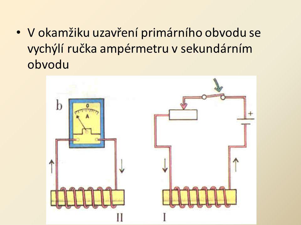 • V okamžiku uzavření primárního obvodu se vychýlí ručka ampérmetru v sekundárním obvodu