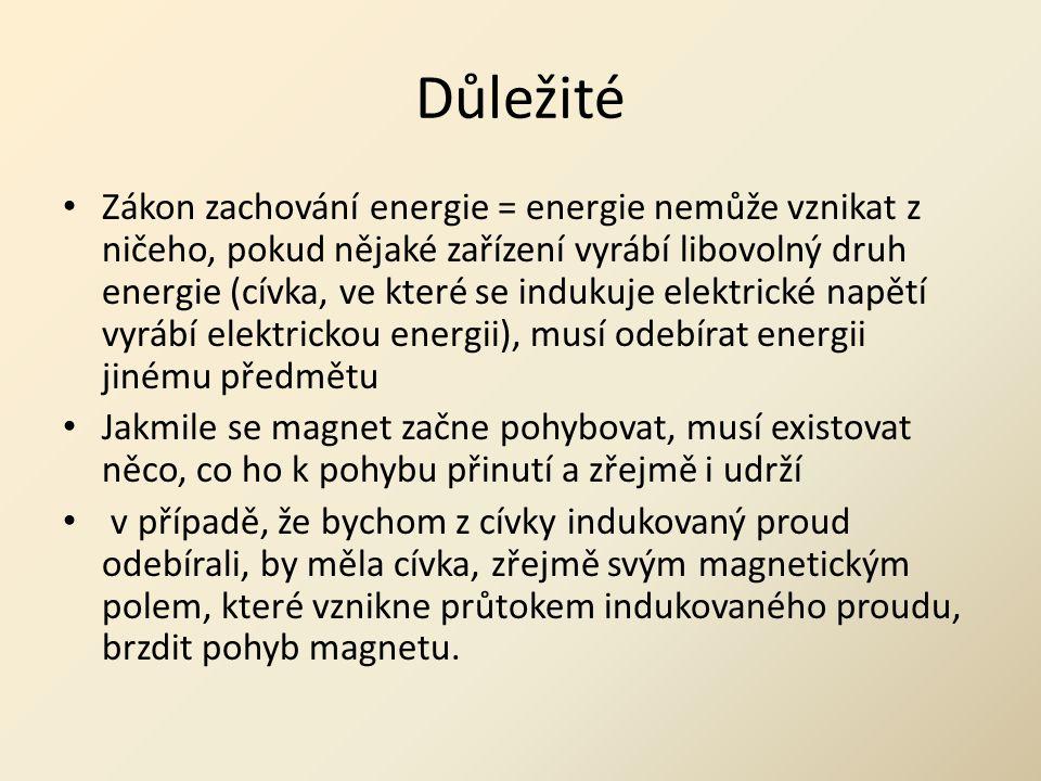 Důležité • Zákon zachování energie = energie nemůže vznikat z ničeho, pokud nějaké zařízení vyrábí libovolný druh energie (cívka, ve které se indukuje