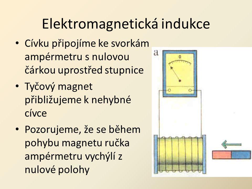Elektromagnetická indukce • Cívku připojíme ke svorkám ampérmetru s nulovou čárkou uprostřed stupnice • Tyčový magnet přibližujeme k nehybné cívce • P