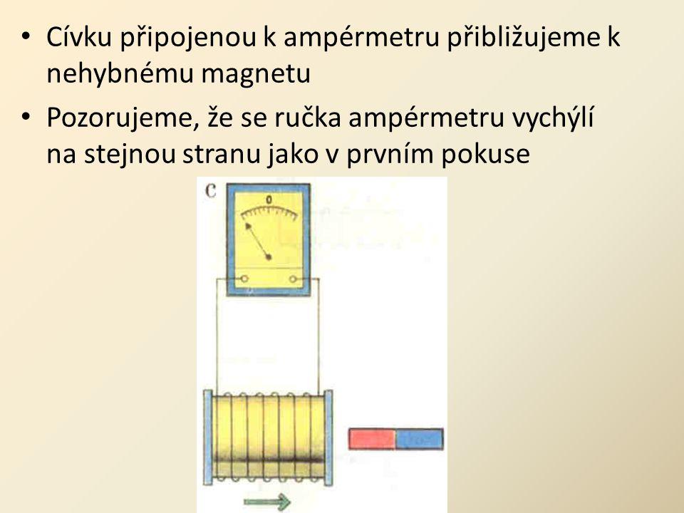 • Cívku připojenou k ampérmetru přibližujeme k nehybnému magnetu • Pozorujeme, že se ručka ampérmetru vychýlí na stejnou stranu jako v prvním pokuse