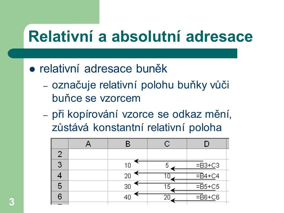 4 Relativní a absolutní adresace  absolutní adresace buněk – označuje konstantní adresu buňky – při kopírování vzorce se odkaz nemění – zadáváme pomocí znaku $ před písmeno sloupce a před číslo řádku přepínání klávesou F4