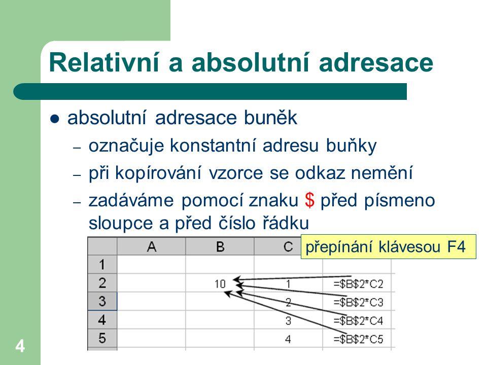 5 Relativní a absolutní adresace  smíšená adresace buněk – při kopírování vzorce se odkaz mění pouze ve sloupcích nebo pouze v řádcích – zadáváme pomocí znaku $ pouze před písmeno sloupce nebo před číslo řádku – příklad: $B2 nebo B$2 sloupec je konstantní, při kopírování se mění pouze řádky řádek je konstantní, při kopírování se mění pouze sloupce