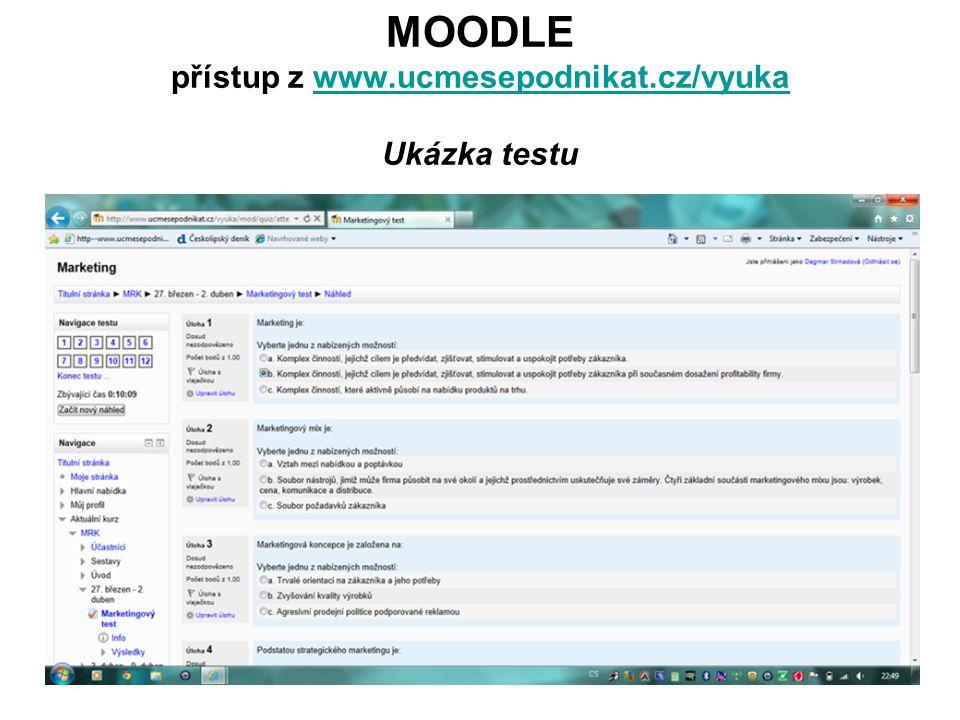 MOODLE přístup z www.ucmesepodnikat.cz/vyuka Ukázka testuwww.ucmesepodnikat.cz/vyuka