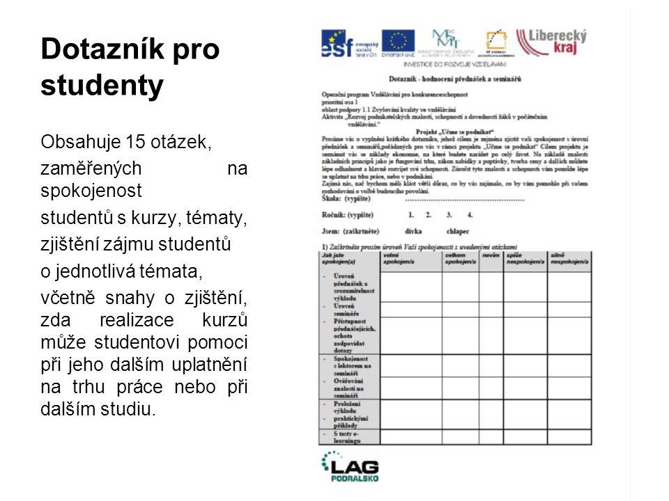 Dotazník pro studenty Obsahuje 15 otázek, zaměřených na spokojenost studentů s kurzy, tématy, zjištění zájmu studentů o jednotlivá témata, včetně snah