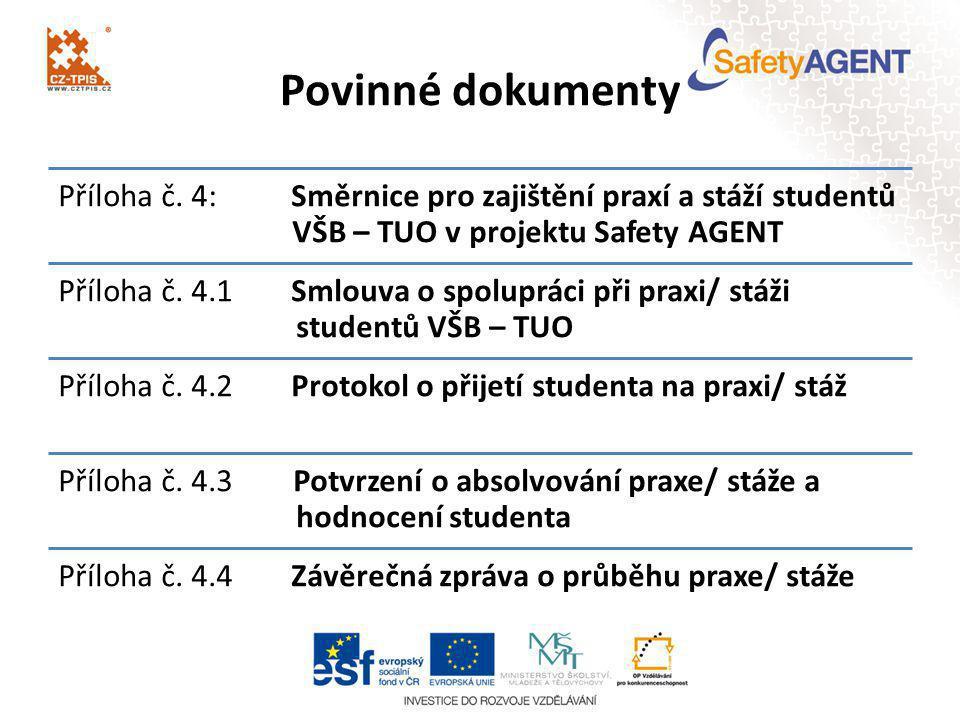 Povinné dokumenty Příloha č. 4: Směrnice pro zajištění praxí a stáží studentů VŠB – TUO v projektu Safety AGENT Příloha č. 4.1Smlouva o spolupráci při