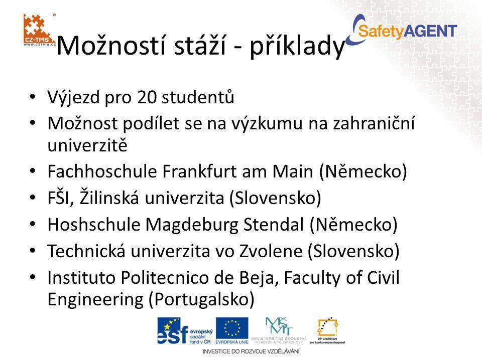• Výjezd pro 20 studentů • Možnost podílet se na výzkumu na zahraniční univerzitě • Fachhoschule Frankfurt am Main (Německo) • FŠI, Žilinská univerzit