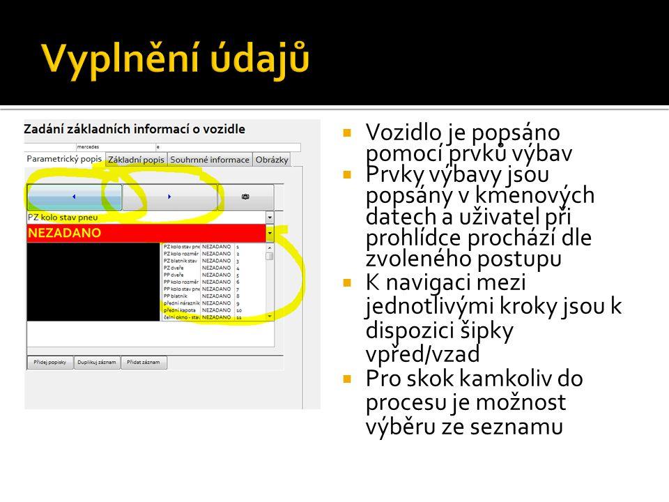  Vozidlo je popsáno pomocí prvků výbav  Prvky výbavy jsou popsány v kmenových datech a uživatel při prohlídce prochází dle zvoleného postupu  K nav
