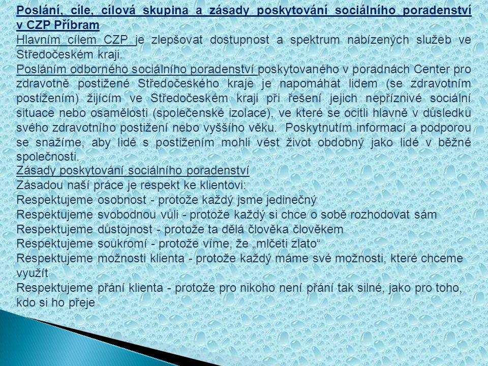 Služby poskytované v CZP Příbram - základní a odborné sociální poradenství- ambulantní či terénní forma - služba osobní asistence- terénní forma Sociální poradenství Základní sociální poradenství Základní sociální poradenství se při poskytování sociálních služeb zajišťuje v rozsahu těchto úkonů: a) poskytnutí informace směřující k řešení nepříznivé sociální situace prostřednictvím sociální služby, b) poskytnutí informace o možnostech výběru druhu sociálních služeb podle potřeb osob a o jiných formách pomoci, například o dávkách pomoci v hmotné nouzi a dávkách sociální péče, c) poskytnutí informací o základních právech a povinnostech osob, zejména v souvislosti s poskytováním sociálních služeb a o možnostech využívání běžně dostupných zdrojů pro zabránění sociálního vyloučení a zabránění vzniku závislosti na sociální službě, d) poskytnutí informace o možnostech podpory členů rodiny v případech, kdy se spolupodílejí na péči o osobu.