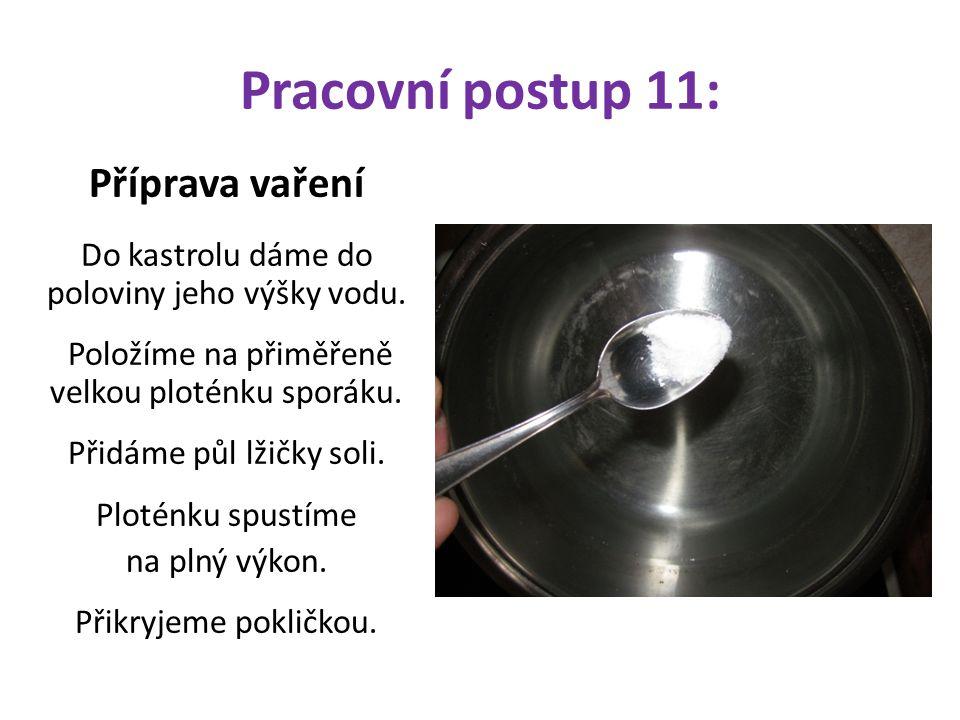 Pracovní postup 11: Příprava vaření Do kastrolu dáme do poloviny jeho výšky vodu. Položíme na přiměřeně velkou ploténku sporáku. Přidáme půl lžičky so