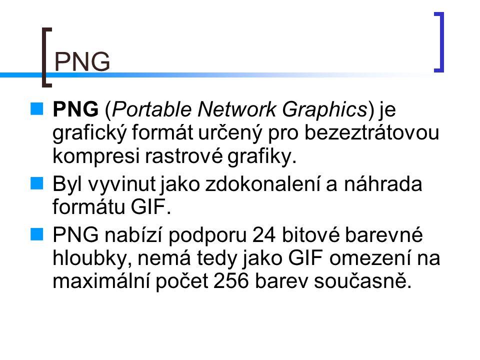 PNG  PNG (Portable Network Graphics) je grafický formát určený pro bezeztrátovou kompresi rastrové grafiky.