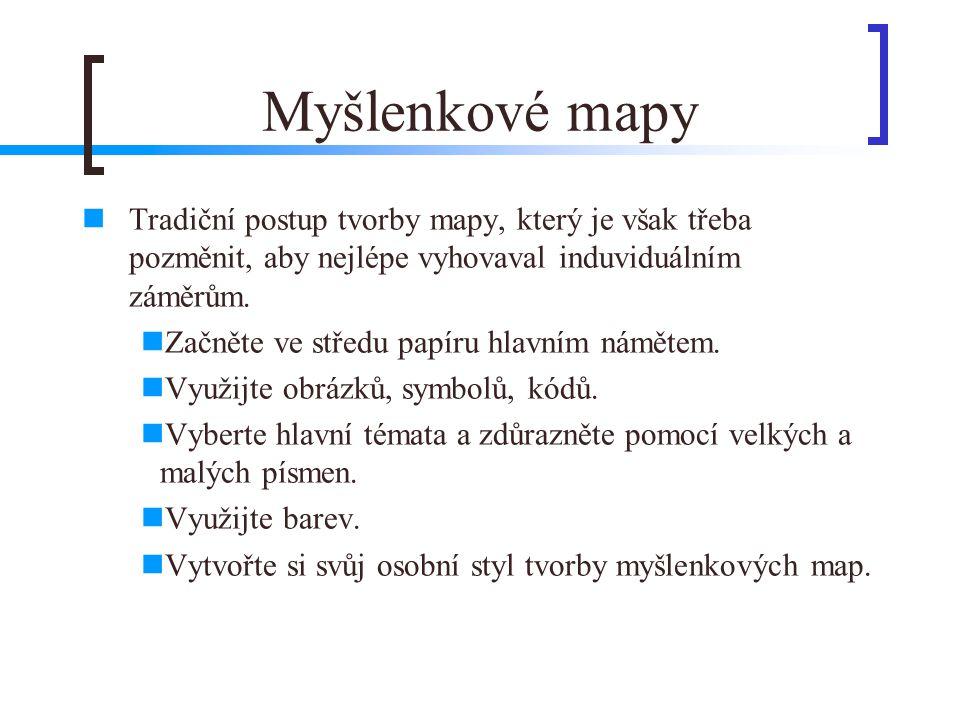 Myšlenkové mapy  Tradiční postup tvorby mapy, který je však třeba pozměnit, aby nejlépe vyhovaval induviduálním záměrům.