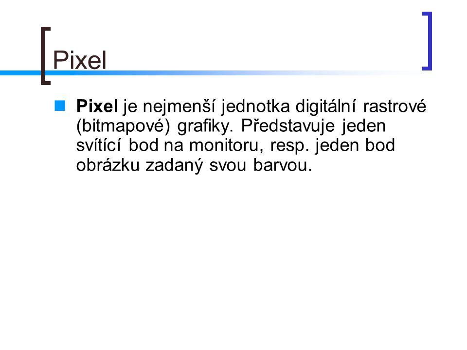 Pixel  Pixel je nejmenší jednotka digitální rastrové (bitmapové) grafiky.