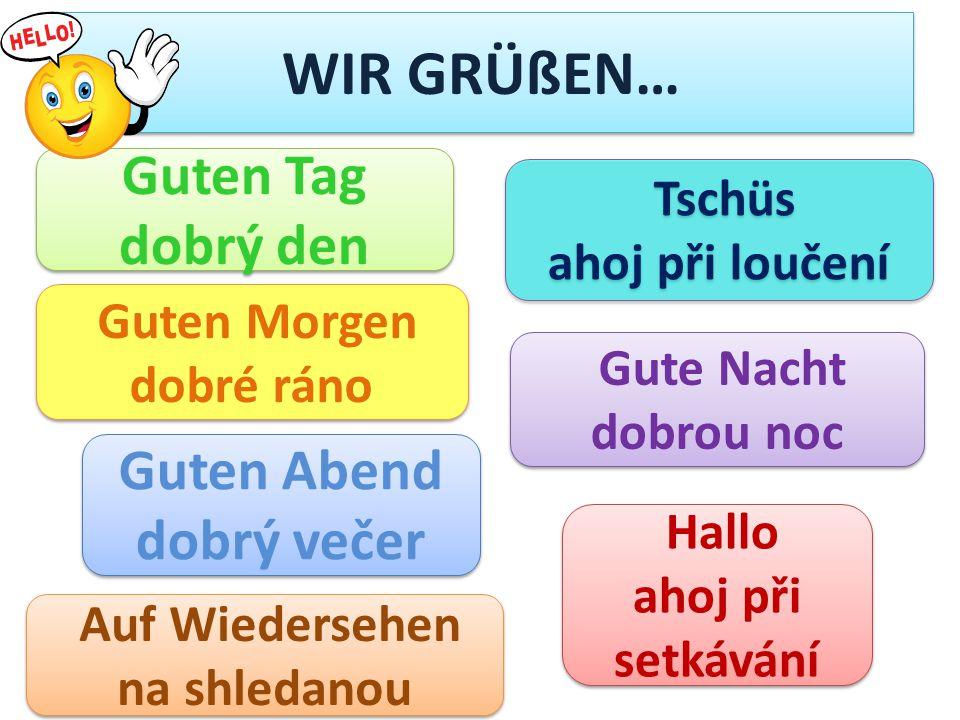 WIR GRÜßEN… Guten Tag dobrý den Guten Tag dobrý den Auf Wiedersehen na shledanou Auf Wiedersehen na shledanou Hallo ahoj při setkávání Hallo ahoj při