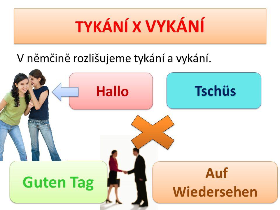 TYKÁNÍ X VYKÁNÍ V němčině rozlišujeme tykání a vykání. Hallo Guten Tag Auf Wiedersehen Tschüs
