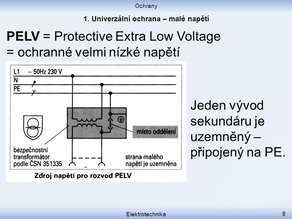 Ochrany Elektrotechnika 10 •Bezpečné malé napětí se nesmí dělat ‒ autotransformátorem ‒ děličem napětí ‒ předřadným odporem ‒ předřadným kondenzátorem •Vidlice a zásuvky SELV a PELV musí být nezáměnné.