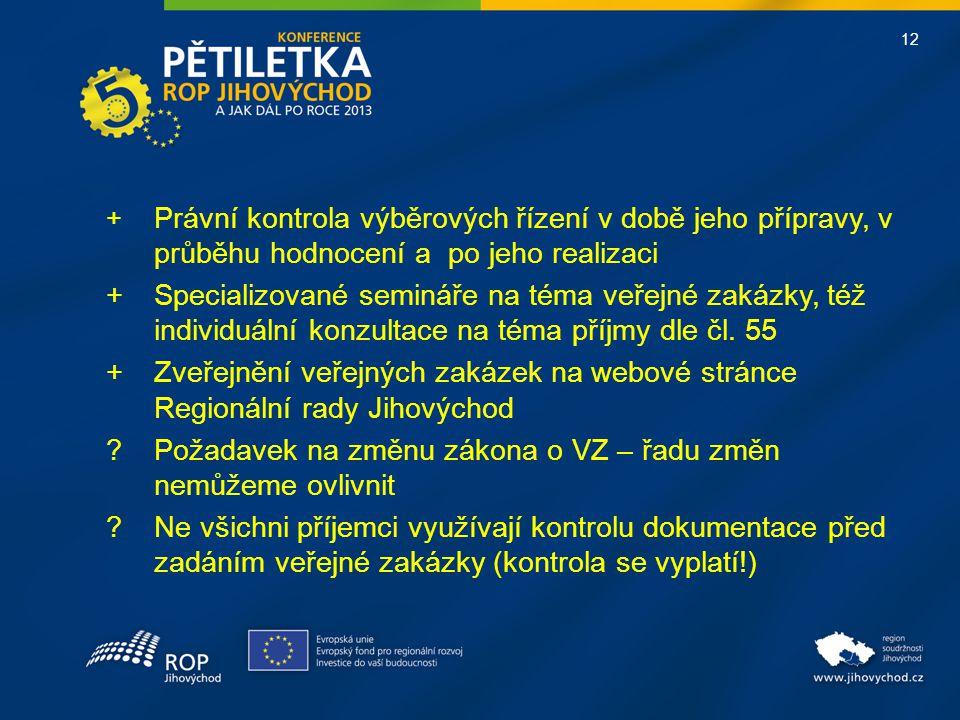 12 + Právní kontrola výběrových řízení v době jeho přípravy, v průběhu hodnocení a po jeho realizaci +Specializované semináře na téma veřejné zakázky, též individuální konzultace na téma příjmy dle čl.