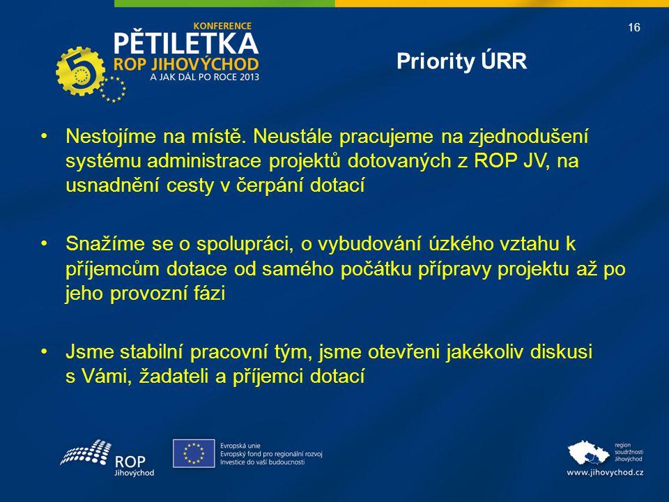 16 Priority ÚRR •Nestojíme na místě. Neustále pracujeme na zjednodušení systému administrace projektů dotovaných z ROP JV, na usnadnění cesty v čerpán