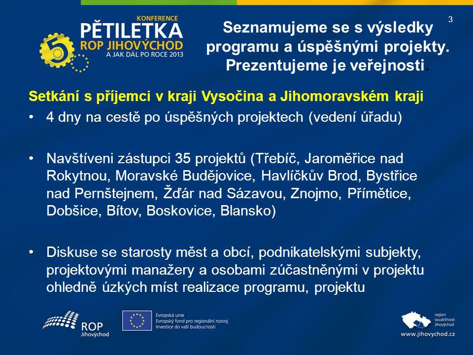 3 Seznamujeme se s výsledky programu a úspěšnými projekty. Prezentujeme je veřejnosti. Setkání s příjemci v kraji Vysočina a Jihomoravském kraji •4 dn