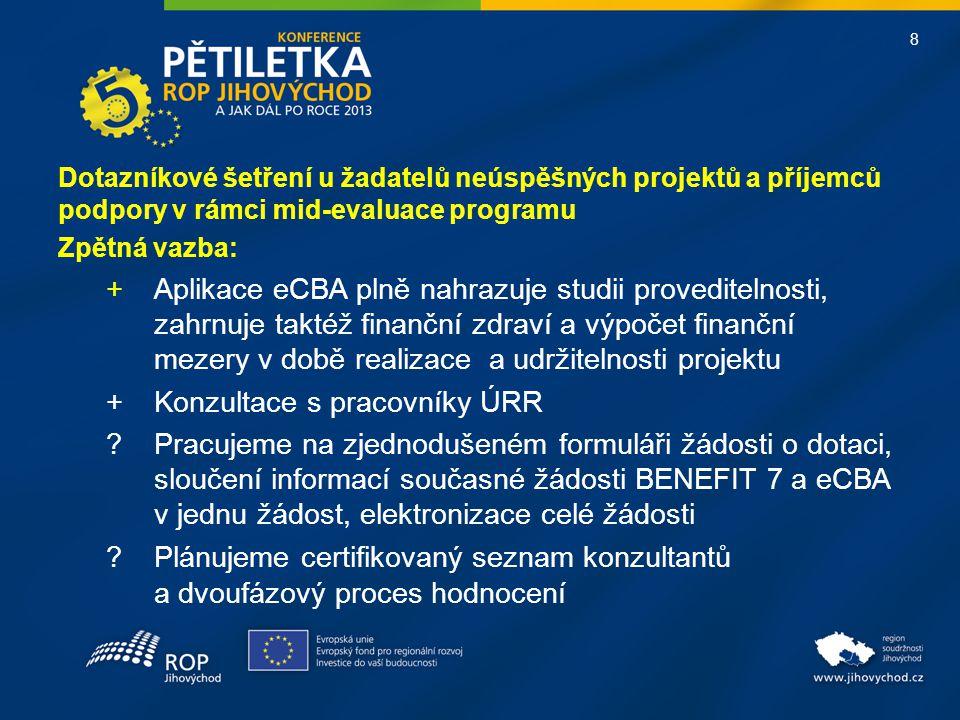 8 Dotazníkové šetření u žadatelů neúspěšných projektů a příjemců podpory v rámci mid-evaluace programu Zpětná vazba: + Aplikace eCBA plně nahrazuje st