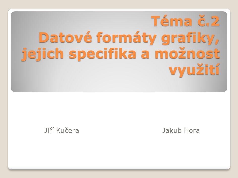 Téma č.2 Datové formáty grafiky, jejich specifika a možnost využití Jiří KučeraJakub Hora