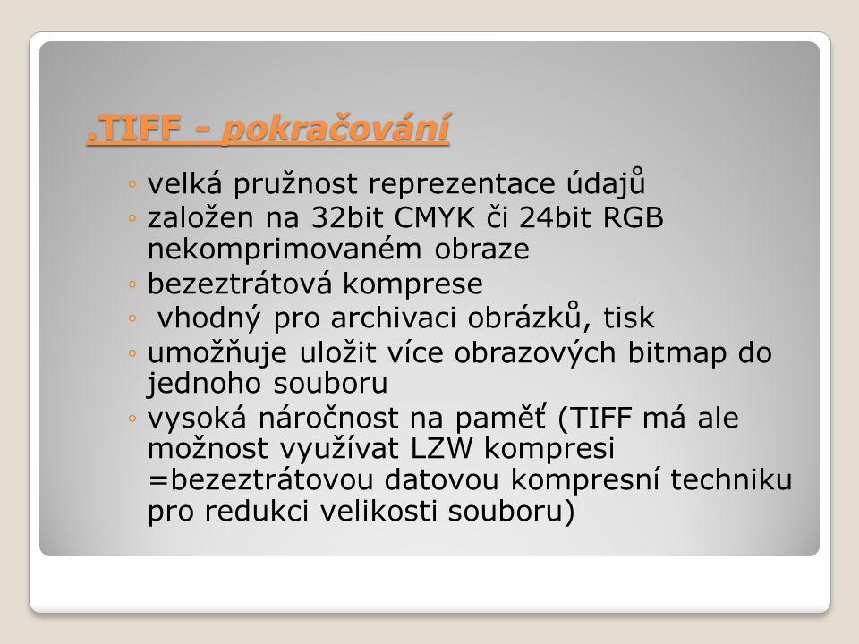 ◦velká pružnost reprezentace údajů ◦založen na 32bit CMYK či 24bit RGB nekomprimovaném obraze ◦bezeztrátová komprese ◦ vhodný pro archivaci obrázků, t