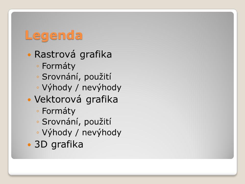 Legenda  Rastrová grafika ◦Formáty ◦Srovnání, použití ◦Výhody / nevýhody  Vektorová grafika ◦Formáty ◦Srovnání, použití ◦Výhody / nevýhody  3D graf