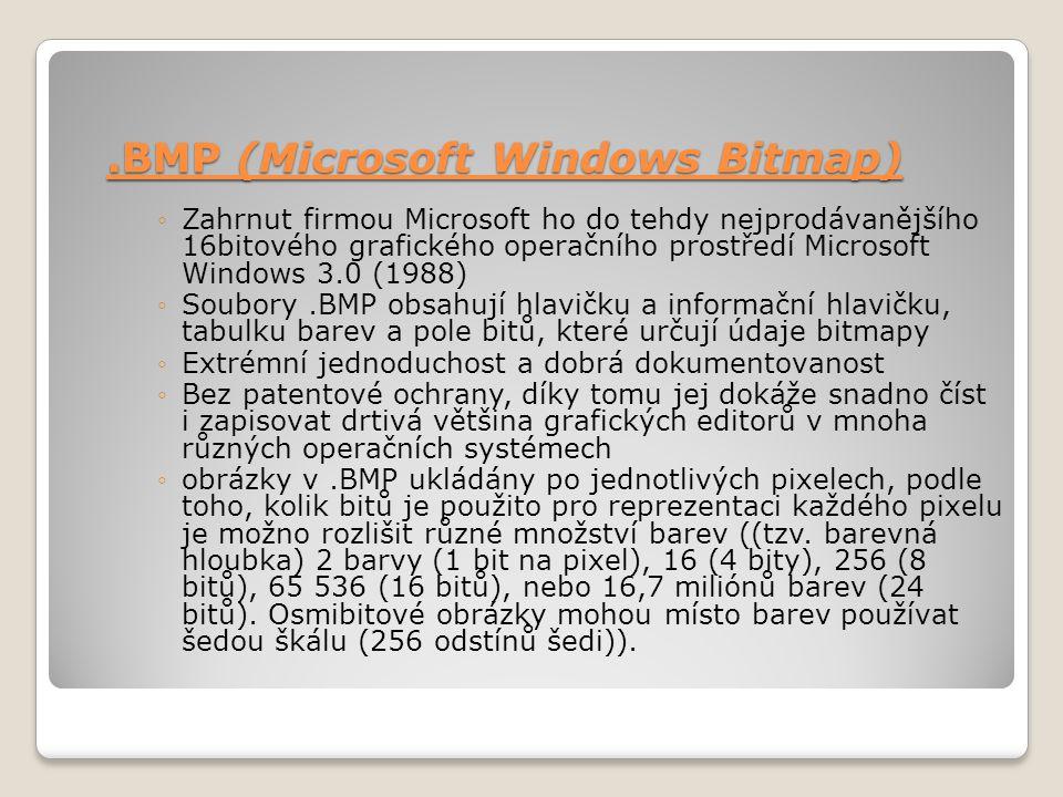 .BMP (Microsoft Windows Bitmap) ◦Zahrnut firmou Microsoft ho do tehdy nejprodávanějšího 16bitového grafického operačního prostředí Microsoft Windows 3