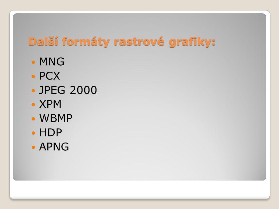 Další formáty rastrové grafiky:  MNG  PCX  JPEG 2000  XPM  WBMP  HDP  APNG