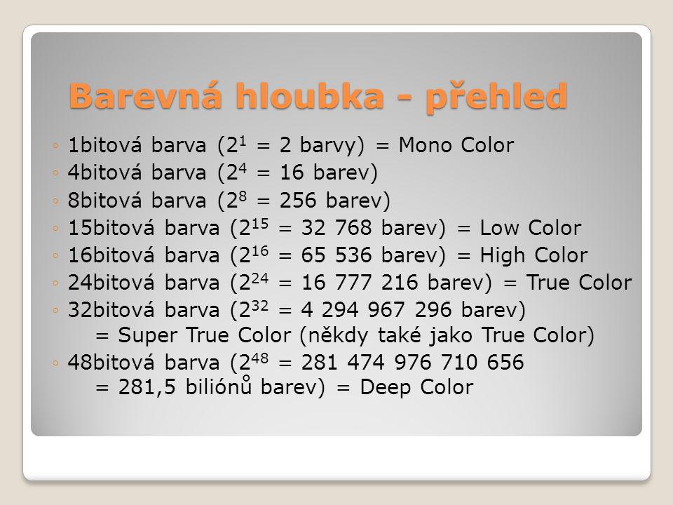 Barevná hloubka - přehled ◦1bitová barva (2 1 = 2 barvy) = Mono Color ◦4bitová barva (2 4 = 16 barev) ◦8bitová barva (2 8 = 256 barev) ◦15bitová barva