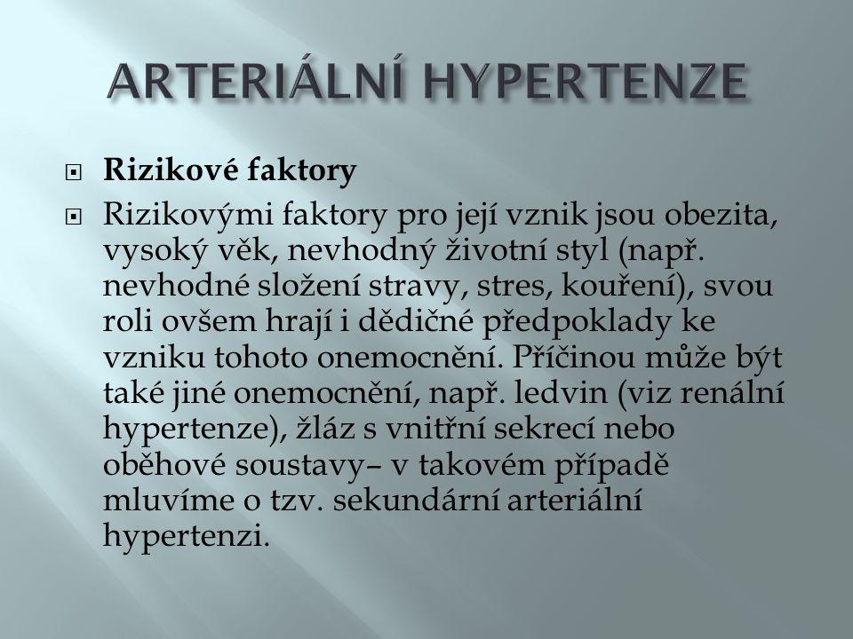  Rizikové faktory  Rizikovými faktory pro její vznik jsou obezita, vysoký věk, nevhodný životní styl (např.