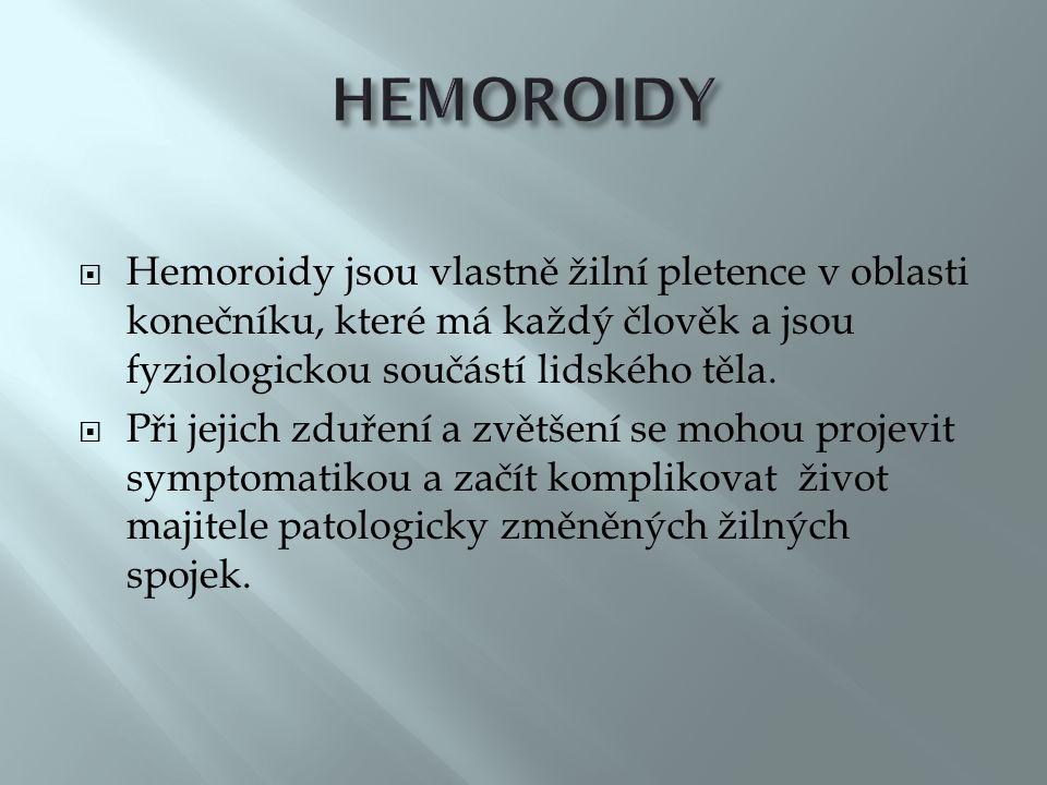  Hemoroidy jsou vlastně žilní pletence v oblasti konečníku, které má každý člověk a jsou fyziologickou součástí lidského těla.