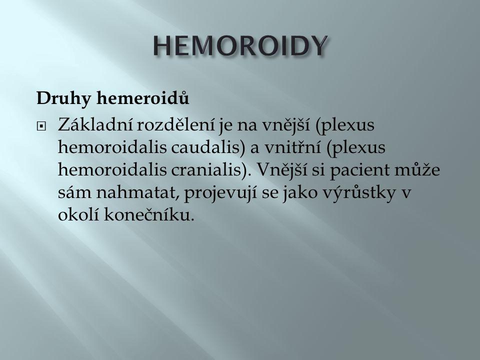 Druhy hemeroidů  Základní rozdělení je na vnější (plexus hemoroidalis caudalis) a vnitřní (plexus hemoroidalis cranialis).