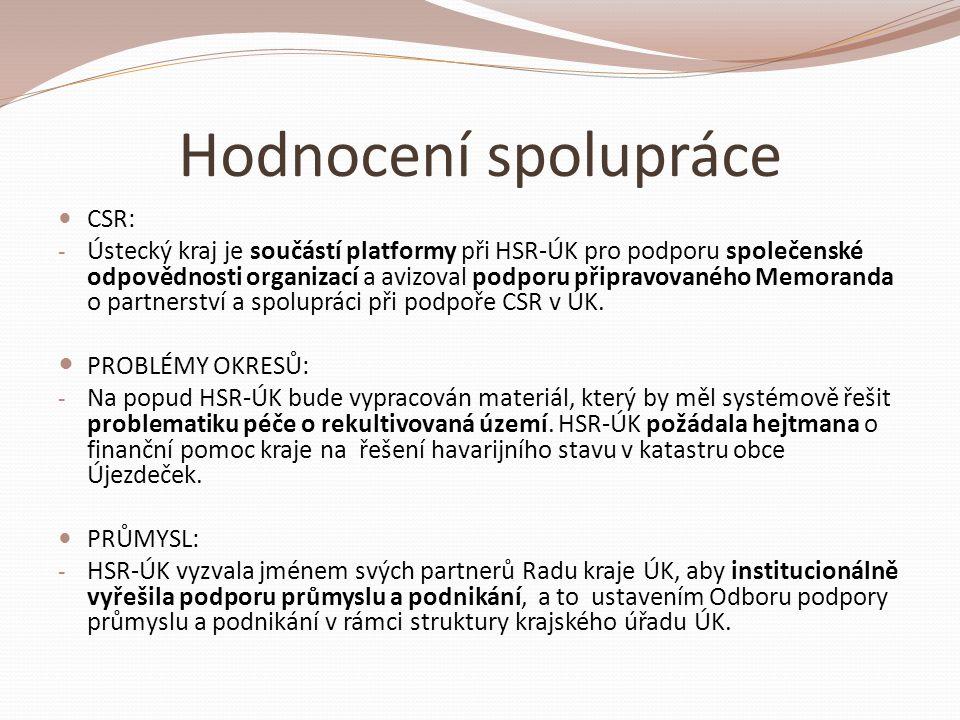 Hodnocení spolupráce  USNESENÍ VLÁDY č.