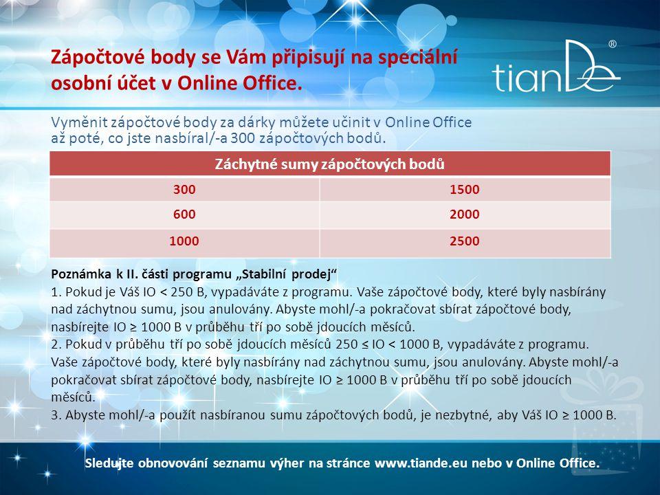 Zápočtové body se Vám připisují na speciální osobní účet v Online Office.