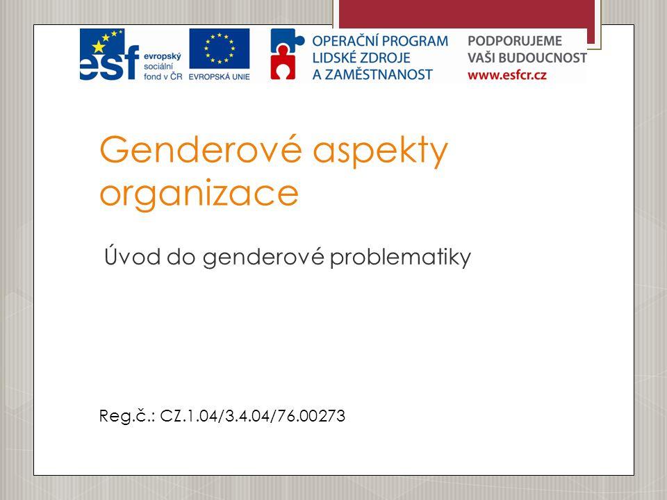 Genderové aspekty organizace Úvod do genderové problematiky Reg.č.: CZ.1.04/3.4.04/76.00273