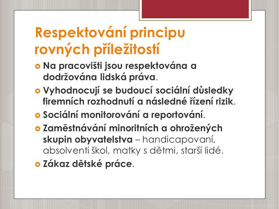 Respektování principu rovných příležitostí  Na pracovišti jsou respektována a dodržována lidská práva.