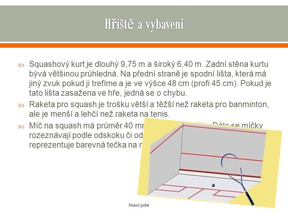  Squashový kurt je dlouhý 9,75 m a široký 6,40 m. Zadní stěna kurtu bývá většinou průhledná. Na přední straně je spodní lišta, která má jiný zvuk pok
