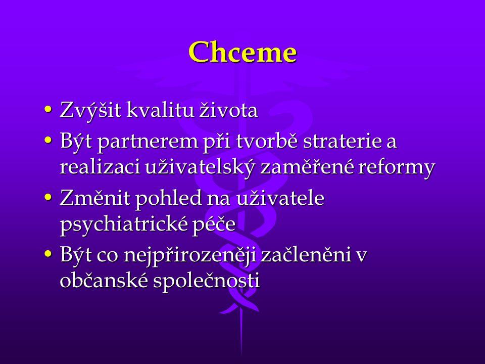 Chceme •Zvýšit kvalitu života •Být partnerem při tvorbě straterie a realizaci uživatelský zaměřené reformy •Změnit pohled na uživatele psychiatrické p