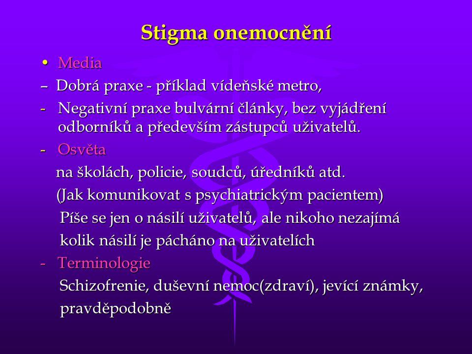 Stigma onemocnění •Media – Dobrá praxe - příklad vídeňské metro, -Negativní praxe bulvární články, bez vyjádření odborníků a především zástupců uživat