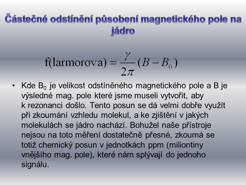 •Kde B 0 je velikost odstíněného magnetického pole a B je výsledné mag. pole které jsme museli vytvořit, aby k rezonanci došlo. Tento posun se dá velm