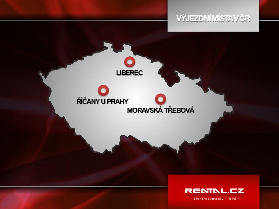 VÝJEZDNÍ MÍSTA V ČR ŘÍČANY U PRAHY LIBEREC MORAVSKÁ TŘEBOVÁ