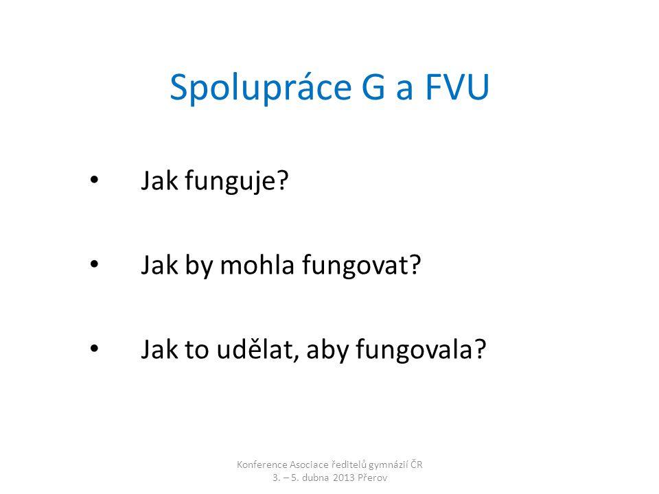 Spolupráce G a FVU • Jak funguje.• Jak by mohla fungovat.