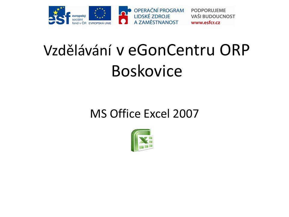 Vzdělávání v eGonCentru ORP Boskovice MS Office Excel 2007