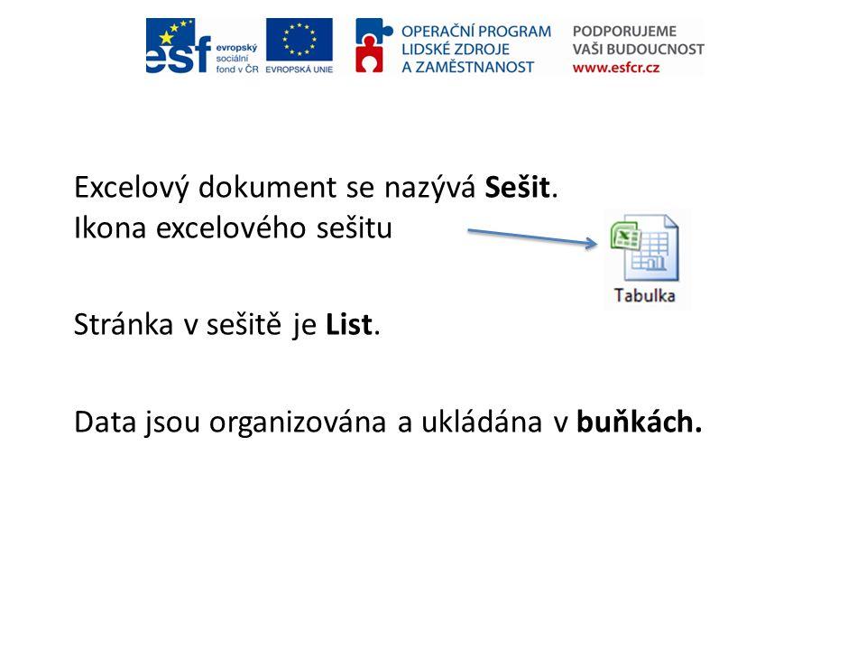 Excelový dokument se nazývá Sešit. Ikona excelového sešitu Stránka v sešitě je List. Data jsou organizována a ukládána v buňkách.