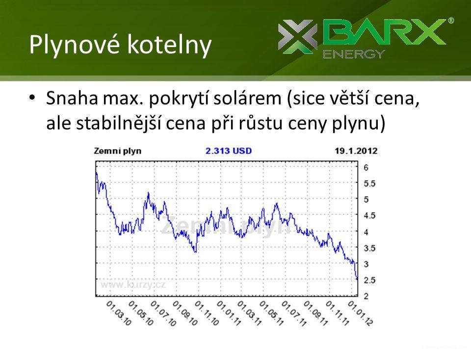 Plynové kotelny • Snaha max. pokrytí solárem (sice větší cena, ale stabilnější cena při růstu ceny plynu)