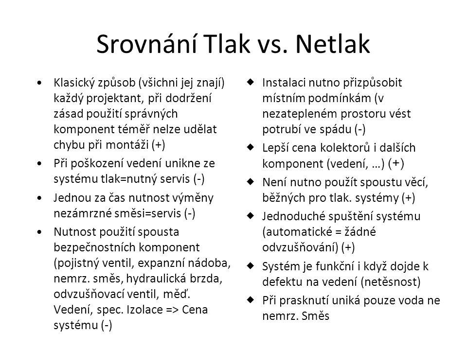 Srovnání Tlak vs. Netlak •Klasický způsob (všichni jej znají) každý projektant, při dodržení zásad použití správných komponent téměř nelze udělat chyb