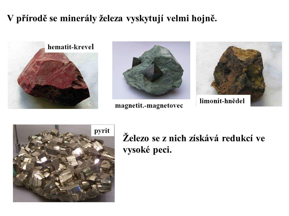V přírodě se minerály železa vyskytují velmi hojně. hematit-kreve l magnetit.-magnetovec limonit-hnědel pyrit Železo se z nich získává redukcí ve vyso