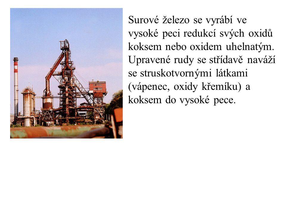 Surové železo se vyrábí ve vysoké peci redukcí svých oxidů koksem nebo oxidem uhelnatým. Upravené rudy se střídavě naváží se struskotvornými látkami (