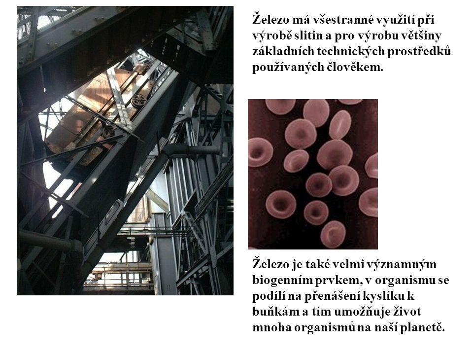 Železo má všestranné využití při výrobě slitin a pro výrobu většiny základních technických prostředků používaných člověkem.