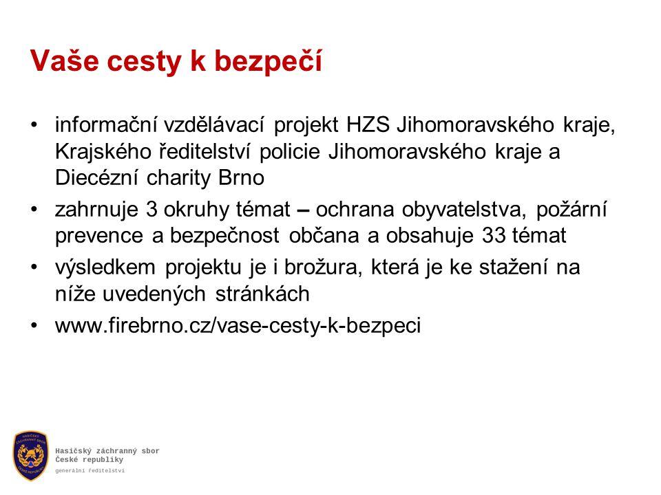 Vaše cesty k bezpečí •informační vzdělávací projekt HZS Jihomoravského kraje, Krajského ředitelství policie Jihomoravského kraje a Diecézní charity Brno •zahrnuje 3 okruhy témat – ochrana obyvatelstva, požární prevence a bezpečnost občana a obsahuje 33 témat •výsledkem projektu je i brožura, která je ke stažení na níže uvedených stránkách •www.firebrno.cz/vase-cesty-k-bezpeci